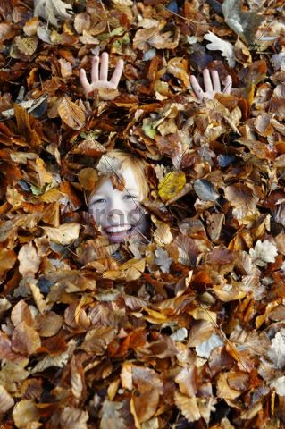 Boy playing with leaves in autumn