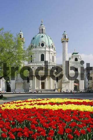 the baroque church Karlskirche built by plans of Fischer von Erlach in Vienna Austria