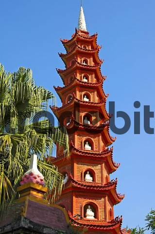 Tran Quoc Pagoda on an island of the West Lake, Hanoi, Vietnam