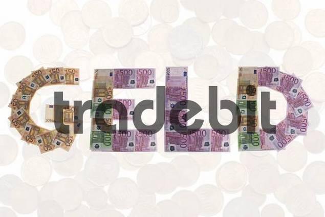 Geld/money, written with bank notes