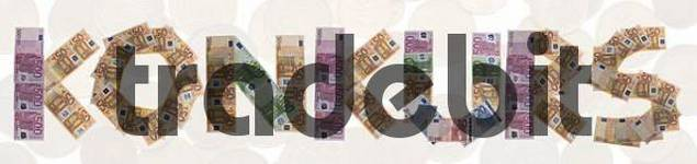 Konkurs/bankruptcy, written with bank notes