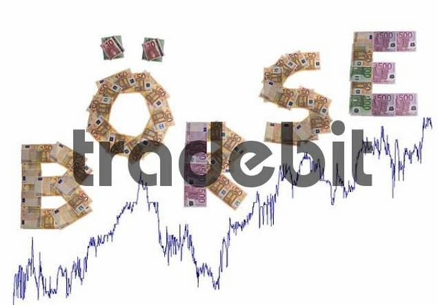 Boerse/stock exchange, written with bank notes