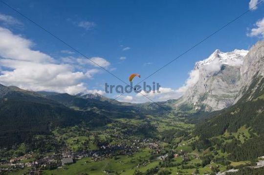 Aerial view, paragliding, Grindelwald, Bern, Switzerland, Europe