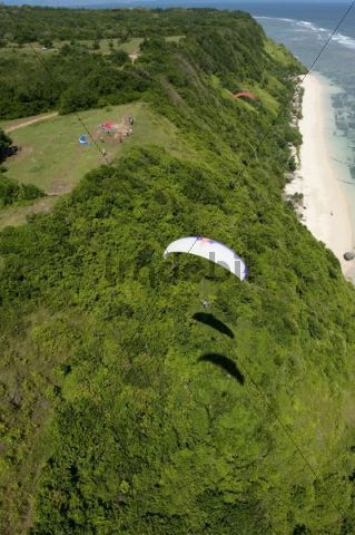 Aerial view, paragliding, Bali Cliff, East Coast, Bali, Indonesia, Southeast Asia