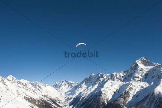 Aerial view, Loetschental valley, UNESCO World Heritage Site, Jungfrau-Aletsch-Bietschhorn Mountains, Valais, Switzerland, Europe