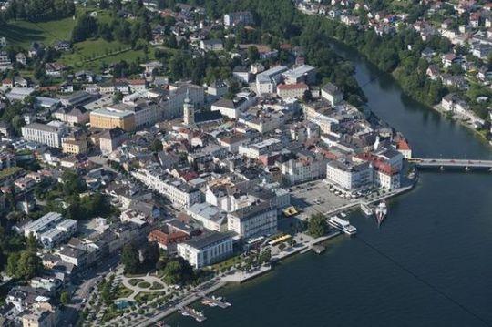 Aerial view, Gmunden, Lake Traun, Upper Austria, Austria, Europe