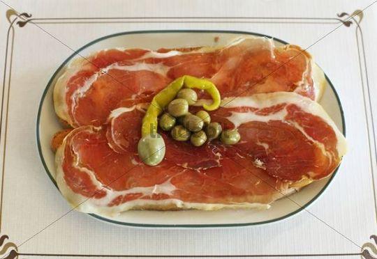 Pa amb oli con jamon, bread with olive oil and ham, Majorca, Balearic Islands, Spain, Europe