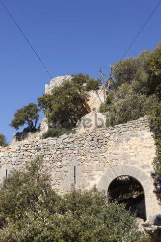 Castillo de Alaro castle ruin, Puig de Alaro mountain, Majorca, Mallorca, Balearic Islands, Spain, Europe