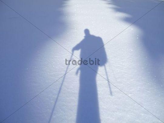 Shadow of a hiker, Unterberg, Piestingtal, Lower Austria, Austria, Europe