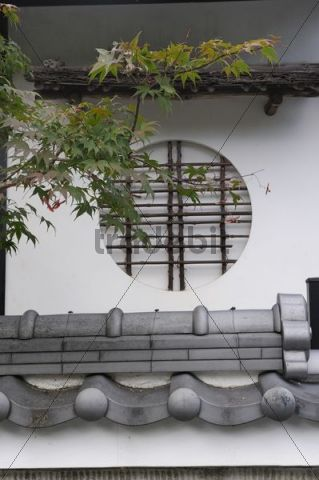 Round window with bamboo bars, Iwakura, near Kyoto, Japan, East Asia, Asia