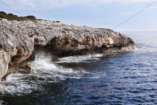 Cliffs, Punta de n´Amer nature reserve, Majorca, Balearic Islands, Spain, Europe