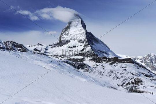 Mt. Matterhorn with a cloud flag in Zermatt, Valais, Switzerland, Europe
