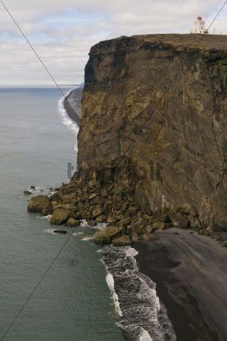 Lighthouse near Vik, South Coast, Iceland, Scandinavia, Europe