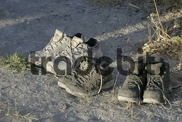 muddy hiking boots Alaska USA