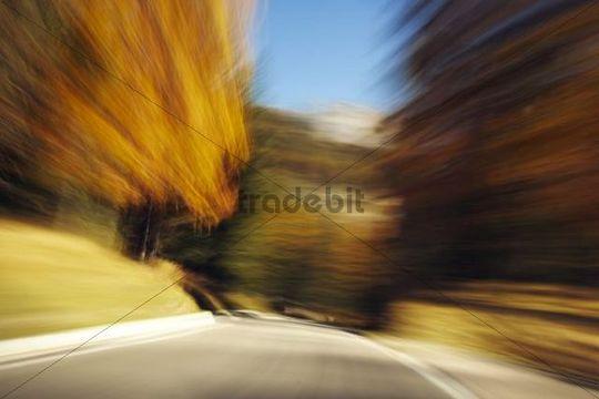 Drive through the autumnal Dolomites, Italy, Europe
