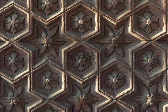 Stone carvings, Qutb Minar minaret, UNESCO World Cultural Heritage, New Delhi, India, Asia