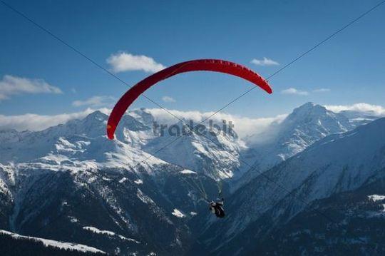 Paragliding, Valais, Switzerland, Alps, Europe