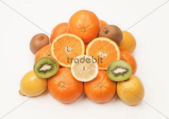 Fruit, oranges, lemons, kiwi fruit
