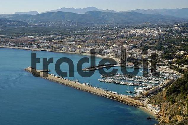view from Cap Antoni on the harbour, Javea, Xabia, Costa Blanca, Spain
