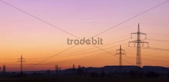 Power poles, evening sky