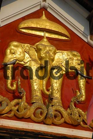 Royal symbol of Lao kings three headed elephant Erawan below the umbrella at former Royal Palace Luang Prabang Laos