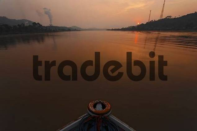 sunrise above river Sungai Mahakam, East-Kalimantan, Borneo, Indonesia