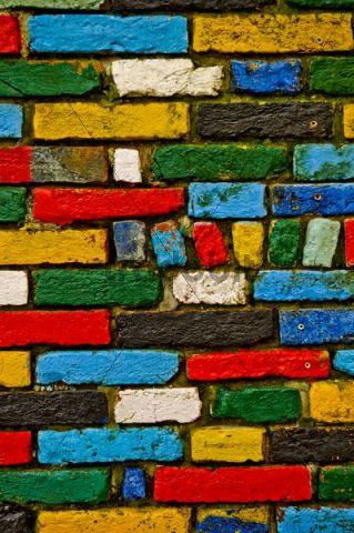 Colourful brick wall