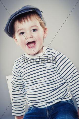 Boy, two years, wearing a cap, portrait