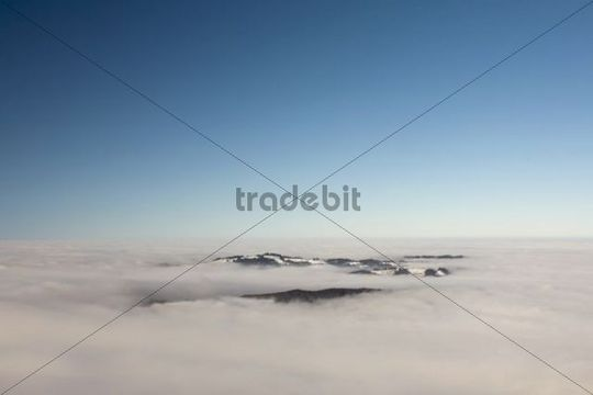 Alpstein massif with Mt Saentis and a layer of clouds, Appenzell Alps, Swiss Alps, Switzerland, Europe