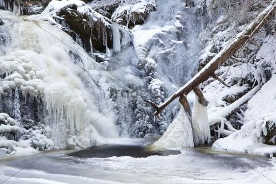 Waterfall with icicles in Falkau, Black Forest, Baden-Wuerttemberg, Germany, Europe