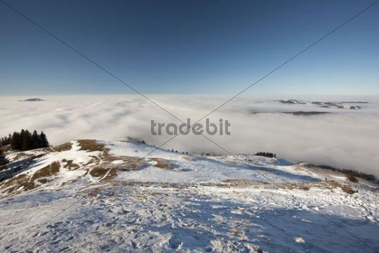 View of the Alpstein massif with Mt. Saentis and mountain pasture in the snow, Alpstein range, Swiss Alps, Switzerland, Europe