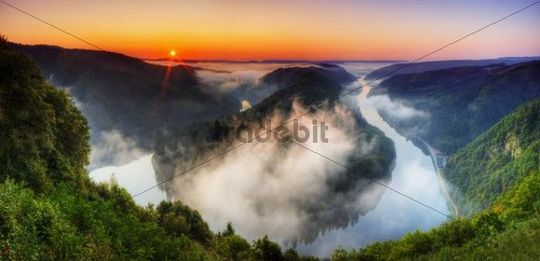 Saarschleife, loop of the Saar river, Saarland, Germany, Europe
