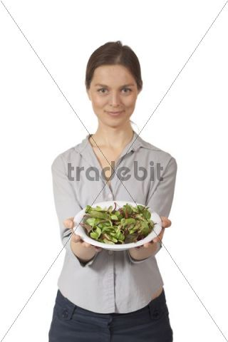 Woman with salad bowl