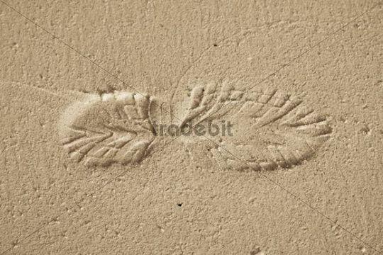 Single shoe print on a sandy beach