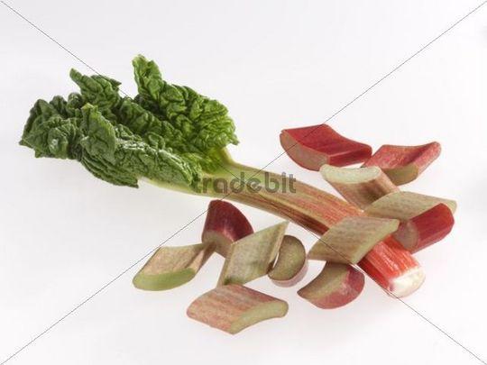 Rhubarb pieces and rhubarb leaf