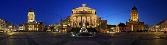 Panorama, Gendarmenmarkt during the blue hour, Mitte, Berlin, Germany, Europe