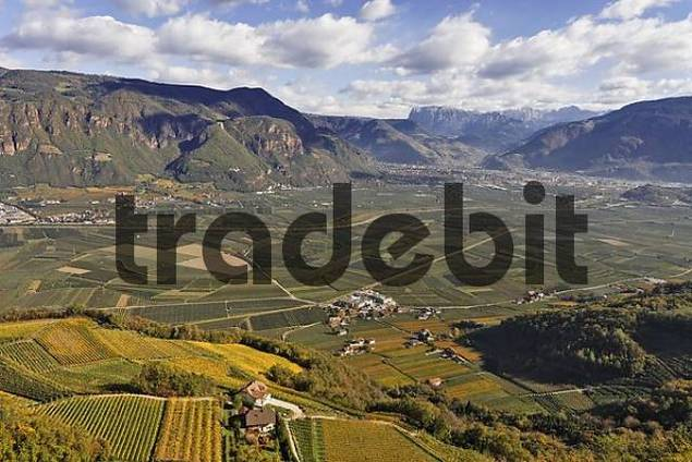 view from the castle Hocheppan into the Bolzano basin, South Tyrol, Italy