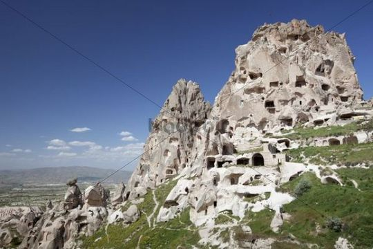 Village with rock-cut dwellings, Uchisar, Cappadocia, Turkey