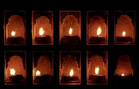 Oil lamps in wall niches, Mool Sagar Heritage Hotel near Jaisalmer, Rajasthan, India, Asia