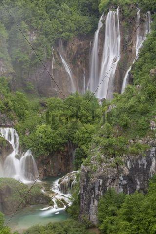 Large Waterfall or Veliki Slap, Plitvice Lakes National Park, UNESCO World Heritage Site, Croatia, Europe