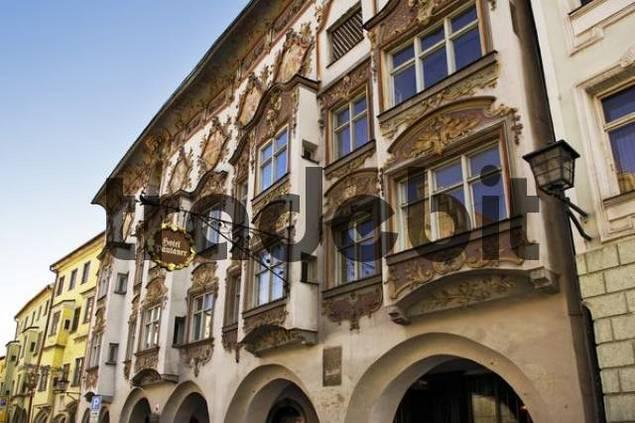 Facade of a historic building, Wasserburg, Bavaria, Germany