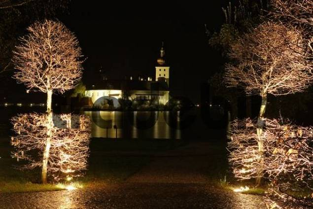 castle Orth at lake Traunsee at night Gmunden Upper Austria Austria