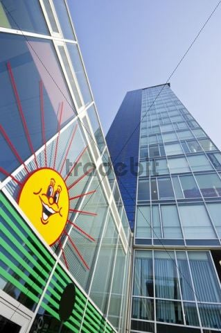 High-rise building with solar front and sun sticker, Freiburg im Breisgau, Baden-Wuerttemberg, Germany, Europe