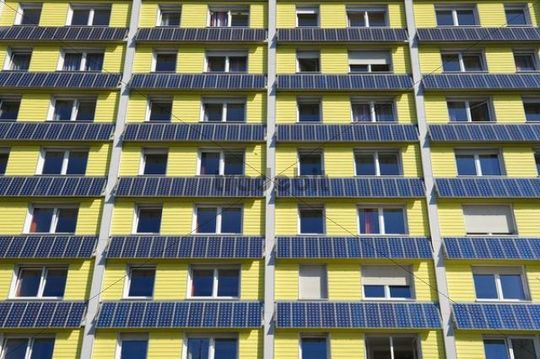 Hall of residence or dormitory with solar front, Freiburg im Breisgau, Baden-Wuerttemberg, Germany, Europe