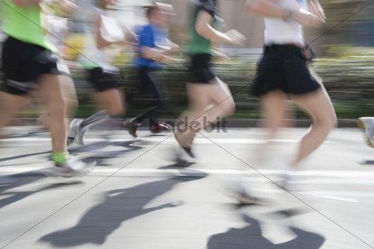 Marathon runners with motion blur, Freiburg Marathon 2011, Freiburg im Breisgau, Baden-Wuerttemberg, Germany, Europe