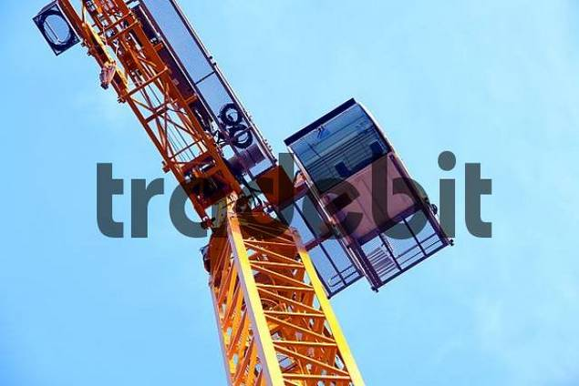 Construction crane from frog perspective