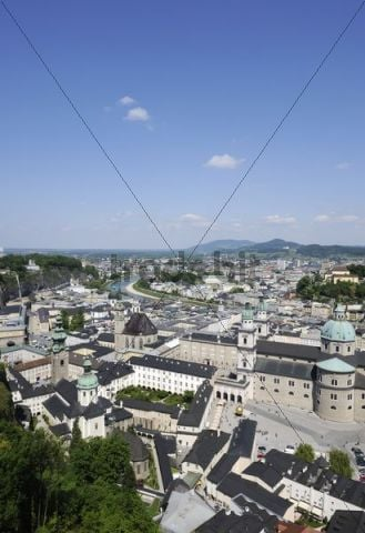 View of the historic district of Salzburg as seen from Hohensalzburg Castle, Kapitelplatz square and Salzburg Cathedral in the front, Austria, Europe