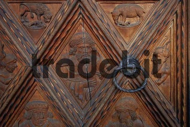 close-up wooden door with door knocker, Stiftspfarrkirche, place of pilgrimage Altoetting, Upper Bavaria, Bavaria, Germany