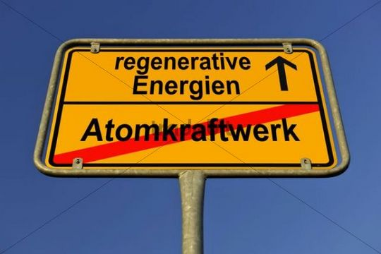 City limit sign, symbolic image in German for phasing out nuclear power stations and entering into renewable energy sources