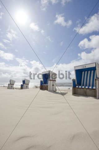 Roofed wicker beach chairs on the beach in Westerland, Sylt island, Schleswig-Holstein, Germany, Europe